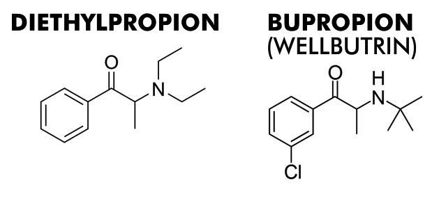 Diethylpropion and bupropion both cause weight loss